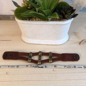 EUC Leatherock leather/brass adjustable cuff